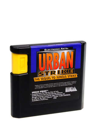 genesis: Adelaide, Australia - February 23 2016: A Studio shot of a Urban Strike Sega Genesis Game Cartridge. A popular video game from the 1990s is popular with collectors and retro gamers worldwide. Editorial