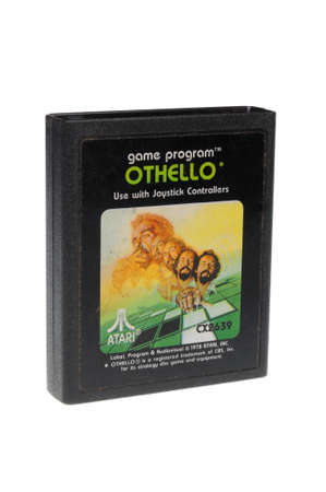 Adelaide, Australia - February 23 2016: A Studio shot of an Atari 2600 Othello Game Cartridge. A popular video game from the 1980s is popular with collectors and retro gamers worldwide.