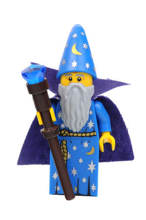 collectable: Adelaide, Australia - April 18, 2016: A studio shot of a Wizard Lego Minifigure from series 12. Lego is very popular with children and collectors worldwide.