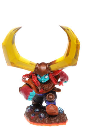 xbox: Adelaide, Australia - February 23, 2016: Skylanders Trap Team game character Head Bash. When a Skylander figurine is placed on the Portal of Power, that character will come to life in the game with their own unique abilities and powers. The skylanders tra Editorial