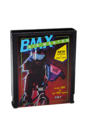 collectable: Adelaide, Australia - February 23 2016: A Studio shot of an Atari 2600 BMX Air Master Game Cartridge. A popular video game from the 1980s is popular with collectors and retro gamers worldwide.