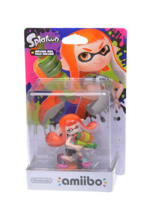 nintendo: Adelaide, Australia - February 23, 2016: A studio shot of a Inkline Girl Nintendo Amiibo Figurine. This figurine is part of series released by Nintendo where placing the figure on the interface allows players to control that character in the game.