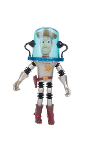 toy story: Adelaide, Australia - January 02, 2016: A studio shot of a Woody action figure from the Toy Story movie series. Merchandise from movie and TV series are highy sought after collectables.
