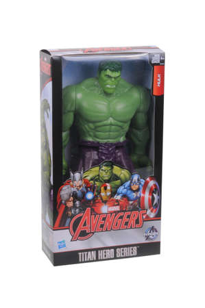 unopened: Adelaide, Australia - March 11, 2016: A studio shot of an unopened Hulk action figure on a white background. Marvel toys are highly sought after collectables.