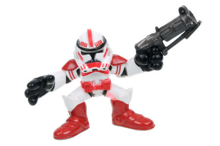 trooper: Adelaide, Australia - March 15, 2016: A studio shot of a Imperial Shock Trooper action figure from the movie series Star Wars. Merchandise from the Star Wars universe are highly sought after collectables. Editorial