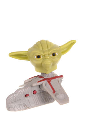 clone: Adelaide, Australia - February 21, 2016:A studio shot of a Yoda 2008 Happy Meal Toy from the animated series Star Wars - The Clone Wars. Distributed with Mcdonalds Happy Meals in 2008 to promote the animated series.
