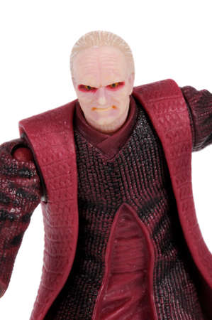 chancellor: Adelaide, Australia - February 20, 2016: A studio shot of a Chancellor Palpatine action figure from the movie series Star Wars. Merchandise from the Star Wars universe are highly sought after collectables. Editorial