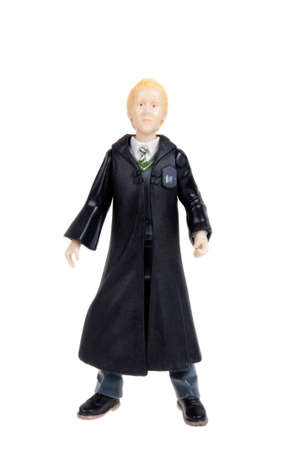 collectable: Adelaide, Australia - January 15, 2016: A studio shot of a Draco Malfoy Action Figure from the popular Harry Potter novel and movie series. A collectable item sold worldwide.