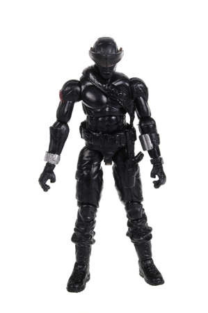 snake eyes: Adelaide, Australia - February 9, 2016: A Snake Eyes GI Joe Action Figure isolated on a white background from the popular GI Joe series. Merchandise from the series are highly sought after collectables.