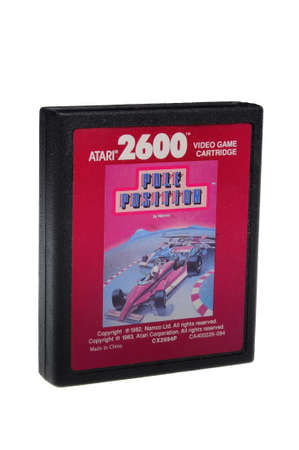 gamers: Adelaide, Australia - February 23 2016: A Studio shot of an Atari 2600 Pole Position Game Cartridge. A popular video game from the 1980s is popular with collectors and retro gamers worldwide. Editorial