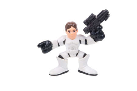 stormtrooper: Adelaide, Australia - August 5, 2015: A Han Solo Stormtrooper Action Figure isolated on a white background. Merchandise from the Star Wars universe are highly sought after collectables.