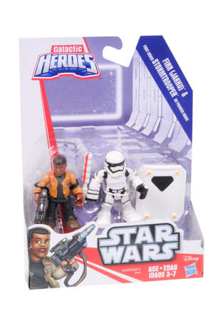 sought: Adelaide, Australia - March 06, 2016:An isolated shot of an unopened Finn and First Order Stormtrooper Action Figures from the Star Wars The Force Awakens movie.Merchandise from the Star Wars movies are highy sought after collectables. Editorial