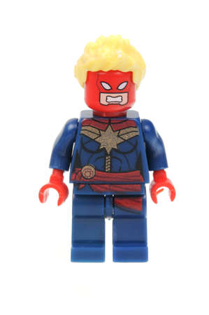 marvel: Adelaide, Australia - April 28, 2016:A studio shot of a Captain Marvel Lego Minifigure from the Marvel universe. Lego is extremely popular worldwide with children and collectors.