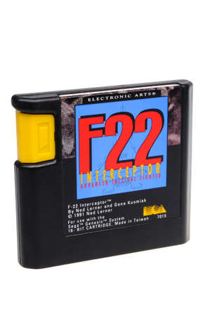 gamers: Adelaide, Australia - February 23 2016: A Studio shot of a F22 Interceptor Sega Genesis Game Cartridge. A popular video game from the 1990s is popular with collectors and retro gamers worldwide. Editorial