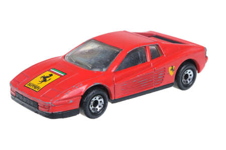 ferrari: Adelaide, Australia - April 05, 2016:An isolated shot of a 1986 Ferrari Testarossa Matchbox Diecast Toy Car. Replica diecast toy cars made by Matchbox are highly sought after collectables. Editorial