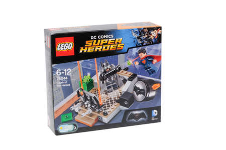 clash: Adelaide, Australia - March 06, 2016: A studio shot of a Lego 76044 Clash of the Heroes Kit from the popular Lego City series. Lego is extremely popular worldwide with children and collectors. Editorial