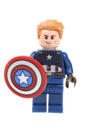 Adelaide, Australia - April 28, 2016:A studio shot of a Captain America Lego Minifigure from the Marvel universe. This particular mini figure is based on the movie Captain America Civil War. Lego is extremely popular worldwide with children and collectors
