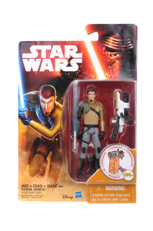 action figure: Adelaide, Australia - April 16, 2016:An isolated shot of an unopened Kanan Jarrus action figure from the Star Wars universe.Merchandise from the Star Wars movies are highy sought after collectables.