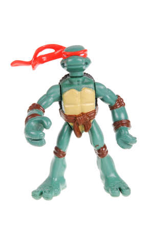 animated action: Adelaide, Australia - February 09, 2016: An isolated image of a Raphael TMNT Action Figure from the Teenage Mutant Ninja Turtles. Teenage Mutant Ninja Turtles is a very popular animated and movie series with merchandise being highly sought after collectab