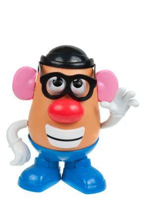 toy story: Adelaide, Australia - January 15, 2016: A Mr Potato Head toy isolated on a white background. Mr Potato Head is a popular toy which has been in production since 1952. The toy has also appeared in Television series, the Toy Story Movies and video games.