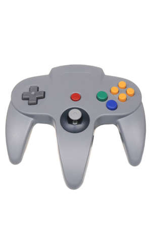 nintendo: Adelaide, Australia - February 23, 2016: A studio shot of a Gray Nintendo 64 controller,isolated on a white background. A popular game console sold by nintendo worldwide between 1996 and 2003. Editorial