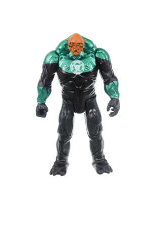action figure: Adelaide, Australia - March 21, 2016: A Kilowog Green Lantern action figure isolated on a white background from the DC comics universe. Merchandise from DC comics are highly sought after collectables.