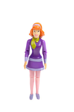 dafne: Adelaide, Australia - December 07, 2015: A photo of a Daphne Action Figure from the Scooby Doo Cartoon series, isolated on a white background. Scooby Doo is a popular animated television series. Editoriali