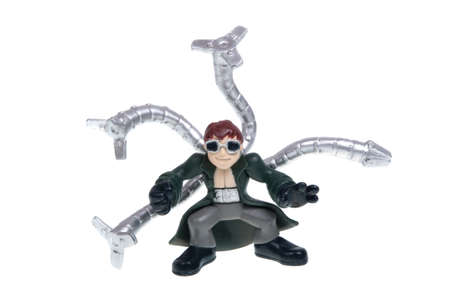 doctor toys: Adelaide, Australia - December 07, 2015: A studio photo of a Doctor Octopus Action Figure from the Marvel Spiderman universe. Items of characters from the Marvel Studios universe are highly sough after collecatables.