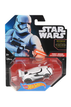 stormtrooper: Adelaide, Australia - April 01, 2016:An isolated shot of an unopened First Order Stormtrooper Hot Wheels Diecast Toy Car from the Star Wars universe.Merchandise from the Star Wars movies are highy sought after collectables. Editorial