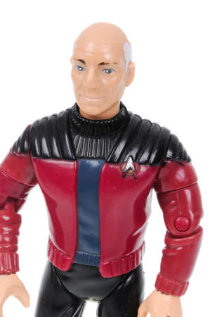 sought: Adelaide, Australia - March 11, 2016:An isolated shot of a Jean-Luc Picard action figure from the Star Trek universe.Merchandise from the Star Trek movies are highy sought after collectables.