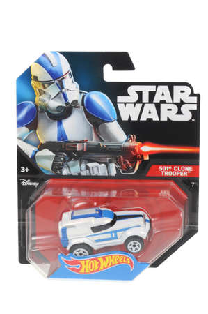 trooper: Adelaide, Australia - April 01, 2016:An isolated shot of an unopened 501st Clone Trooper Hot Wheels Diecast Toy Car from the Star Wars universe.Merchandise from the Star Wars movies are highy sought after collectables.