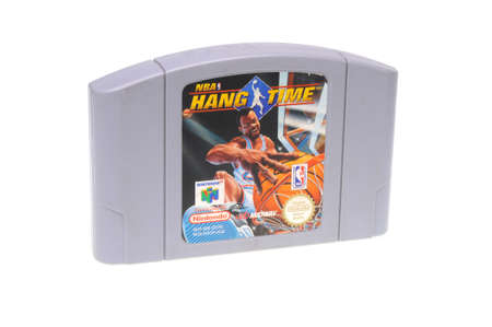 nintendo: Adelaide, Australia - February 23, 2016: A studio shot of a NBA Hang Time Nintendo 64 Cartridge,isolated on a white background. A popular game console sold by nintendo worldwide between 1996 and 2003. Nintendo 64 games are now highly sought after collecta