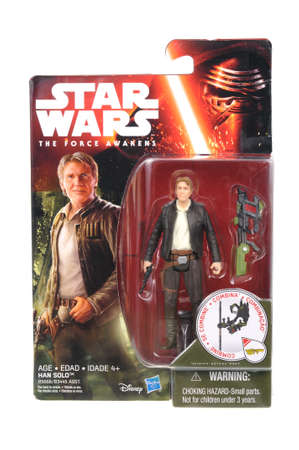 action figure: Adelaide, Australia - April 18, 2016:An isolated shot of an unopened 2015 Han Solo action figure from the Star Wars universe.Merchandise from the Star Wars movies are highy sought after collectables.