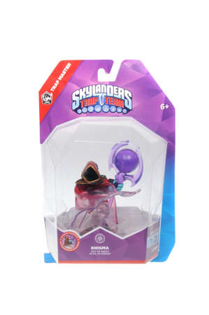 wii: Adelaide, Australia - February 23, 2016: Skylanders Trap Team game character Enigma. When a Skylander figurine is placed on the Portal of Power, that character will come to life in the game with their own unique abilities and powers. The skylanders trap t