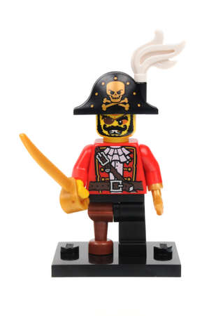 pirate captain: Adelaide, Australia - April 18 2016:A studio shot of a Pirate Captain Lego minifigure from Minifigure Series 8. Lego is extremely popular worldwide with children and collectors.