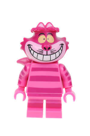 cheshire cat: Adelaide, Australia - February 14, 2016:An isolated shot of a Cheshire Cat Lego Minifigure from Disney Series 1 of the collectable lego minifigure toys. Lego is very popular with children and collectors worldwide. Editorial