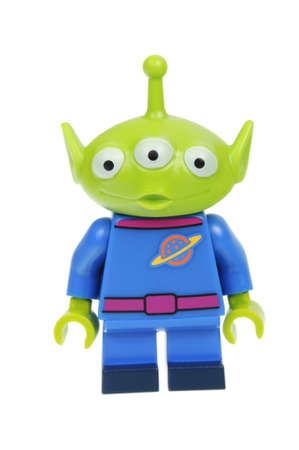 toy story: Adelaide, Australia - May 14, 2016:An isolated shot of a Pizza Planet Alien Cat Lego Minifigure from Disney Series 1 of the collectable lego minifigure toys. Lego is very popular with children and collectors worldwide.