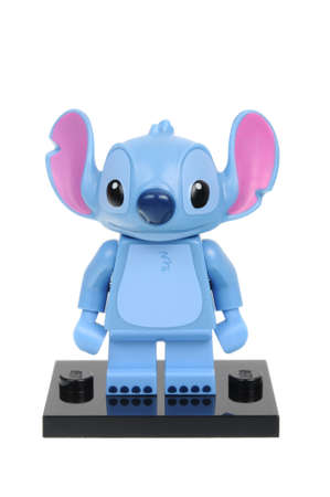 collectable: Adelaide, Australia - May 14, 2016:An isolated shot of a Stitch Cat Lego Minifigure from Disney Series 1 of the collectable lego minifigure toys. Lego is very popular with children and collectors worldwide.