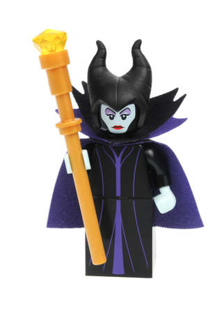 collectable: Adelaide, Australia - May 14, 2016:An isolated shot of a Maleficent Cat Lego Minifigure from Disney Series 1 of the collectable lego minifigure toys. Lego is very popular with children and collectors worldwide. Editorial