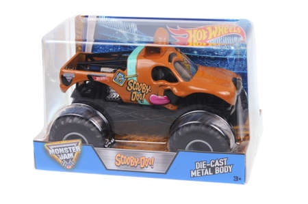 monster truck: Adelaide, Australia - April 03, 2016:An isolated shot of an unopened Scooby Doo Monster Truck Hot Wheels Diecast Toy Car from the Marvel Comics universe. Merchandise from Marvel Comics movies are highly sought after collectables.