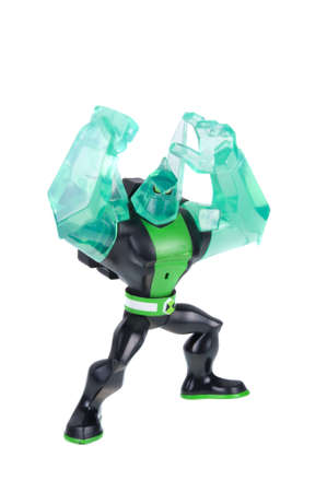 animated action: Adelaide, Australia - December 20 2015:A studio shot of a Diamonhead action figure from the Animated Series Ben 10.Ben 10 is extremely popular worldwide with children.