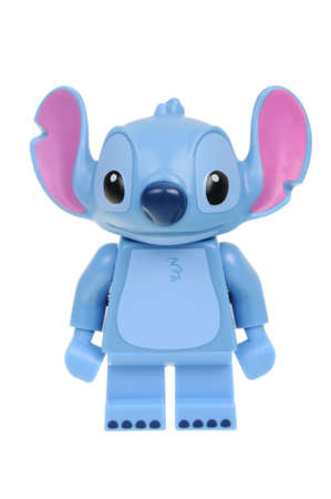 lilo: Adelaide, Australia - May 14, 2016:An isolated shot of a Stitch Cat Lego Minifigure from Disney Series 1 of the collectable lego minifigure toys. Lego is very popular with children and collectors worldwide.
