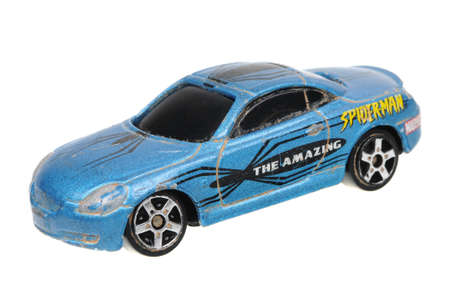 lexus: Adelaide, Australia - April 24, 2016:An isolated shot of a Spider-Man 2003 Lexus SC450 Maisto Diecast Toy Car. Replica diecast toy cars made by Maisto are highly sought after collectables.