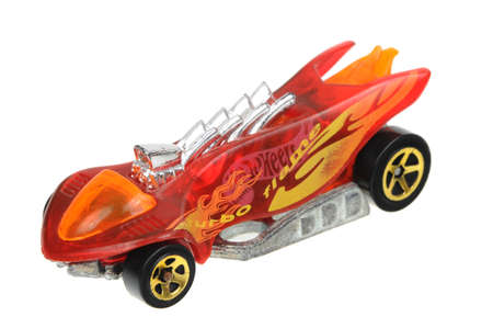 sought: Adelaide, Australia - April 24, 2016:An isolated shot of a 1995 Turbo Flame Hot Wheels Diecast Toy Car. Hot Wheels cars made by Mattel are highly sought after collectables.