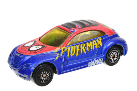 spiderman: Adelaide, Australia - April 24, 2016:An isolated shot of aSpider-Man 2004 Chrysler Pronto Cruizer Maisto Diecast Toy Car. Replica diecast toy cars made by Maisto are highly sought after collectables. Editorial