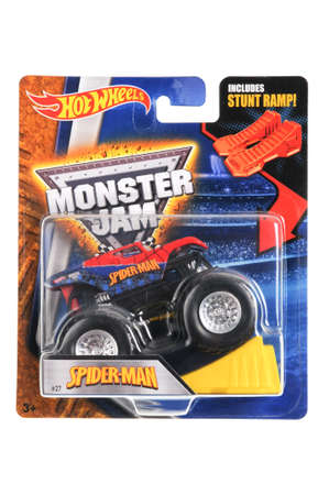comics car: Adelaide, Australia - May 02, 2016:An isolated shot of an unopened Spider-Man Monster Truck Hot Wheels Diecast Toy Car from the Marvel Comics universe. Merchandise from Marvel Comics movies are highly sought after collectables.