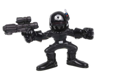 trooper: Adelaide, Australia - March 15, 2016: A Death Star Trooper Action Figure isolated on a white background. Merchandise from the Star Wars universe are highly sought after collectables.