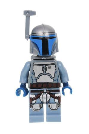 bounty: Adelaide, Australia - 09 de mayo, 2016: Una foto de un Jango Fett Lego Minifigure aislado en un fondo blanco. Lego y mercancía de Star Wars son muy codiciados coleccionables. Editorial
