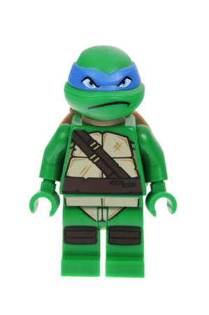 Adelaide, Australia - May 09, 2016: A studio shot of a Leonardo Lego minifigure from the TMNT movies and cartoons. Lego is extremely popular worldwide with children and collectors.