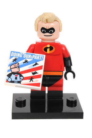 collectable: Adelaide, Australia - May 04, 2016:An isolated shot of a Mr Incredible Lego Minifigure from Disney Series 1 of the collectable lego minifigure toys. Lego is very popular with children and collectors worldwide.